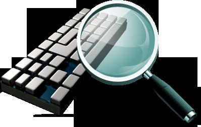 limpieza virus informáticos gerona lupa y teclado