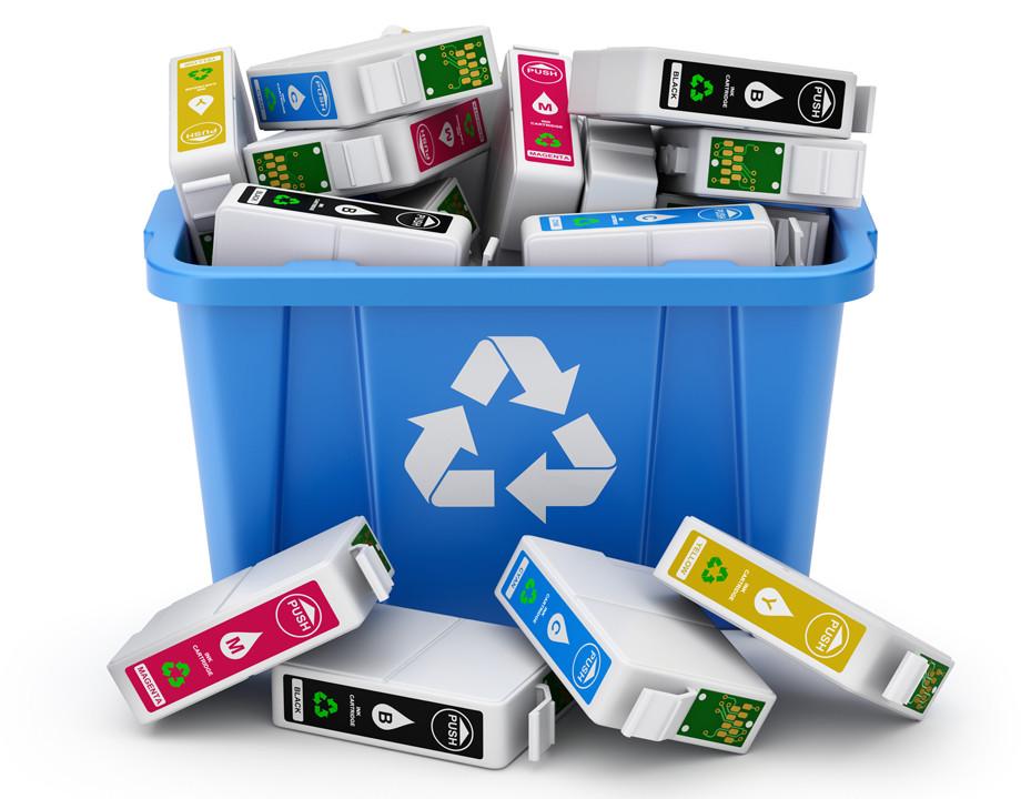 Cartuchos de tinta reciclados, medioambiente, caja para recilar la tinta de la impresora