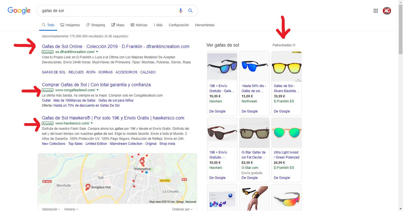 gafas de sol SEM resultados de búsqueda