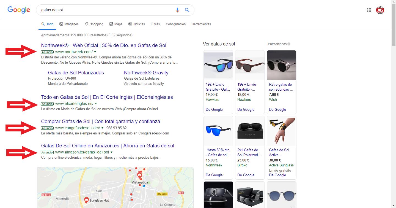google ads gafas de sol estrategia SEM
