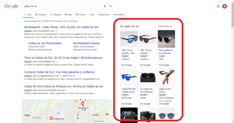 google shopping gafas de sol estratefia SEM