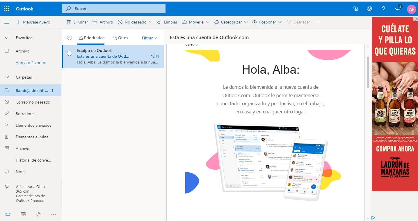 correo electrónico creado hotmail outlook