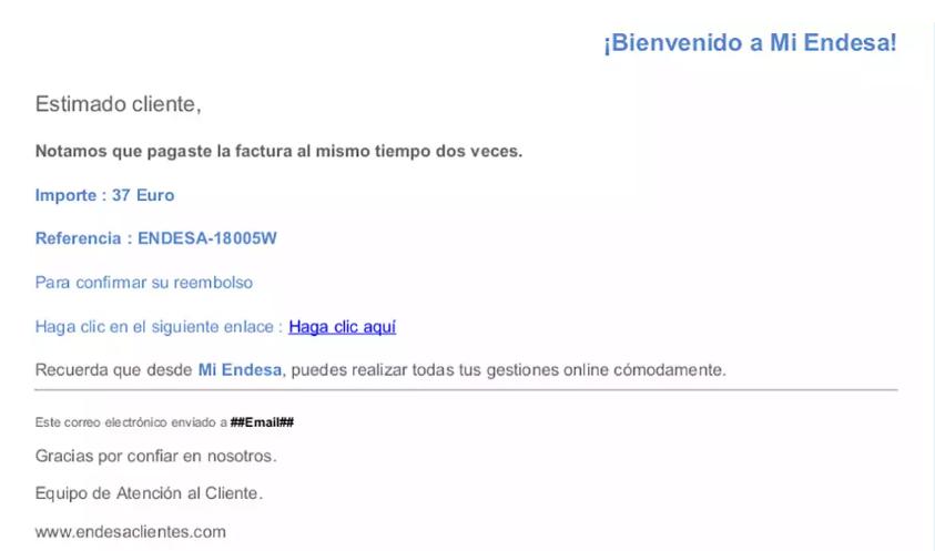 Estafa Phishing donde suplantan endesa por correo electrónico