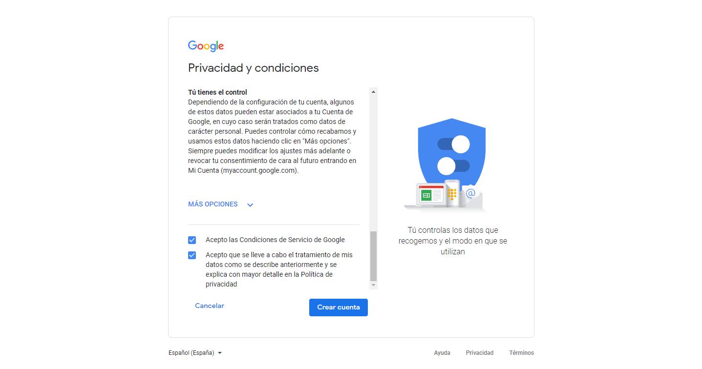Aceptar condiciones de uso y privacidad de los datos de la cuenta gmail