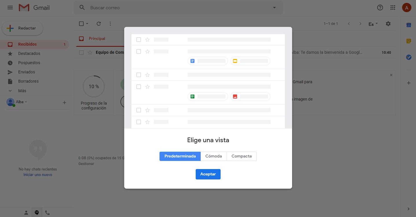 Opción 1 visualización de correos bandeja de entrada gmail