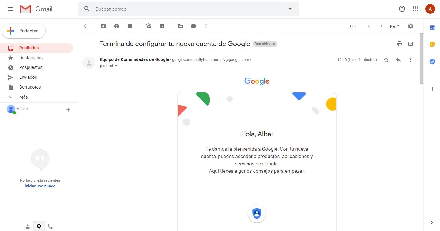 Primer correo electrónico de gmail bienvenida de google