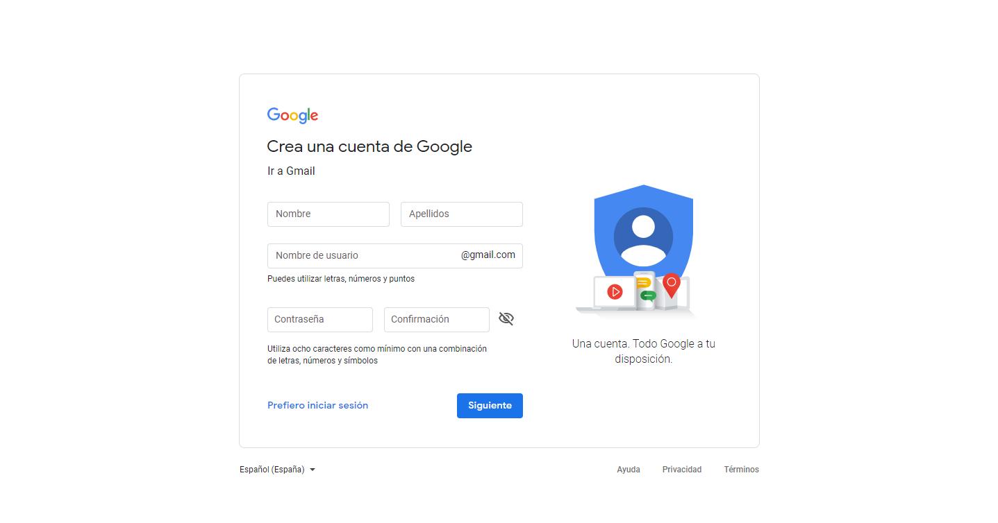 Primer paso para crear una cuenta de gmail gratis