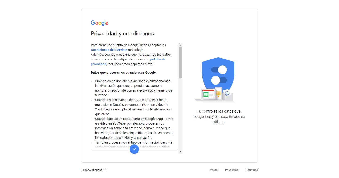 Privacidad y condiciones de uso de la cuenta de correo electronico gmail
