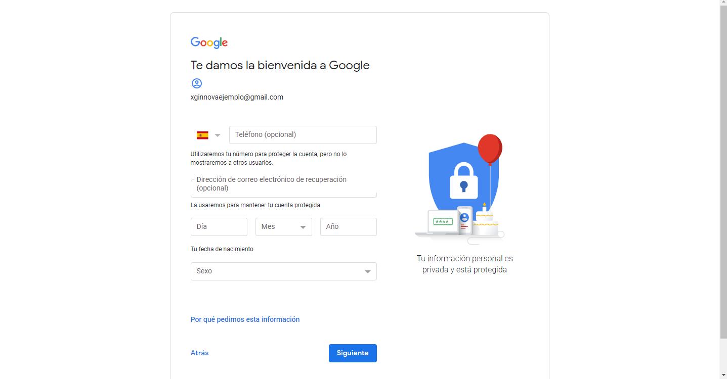 Siguiente paso de rellenar datos personales gmail