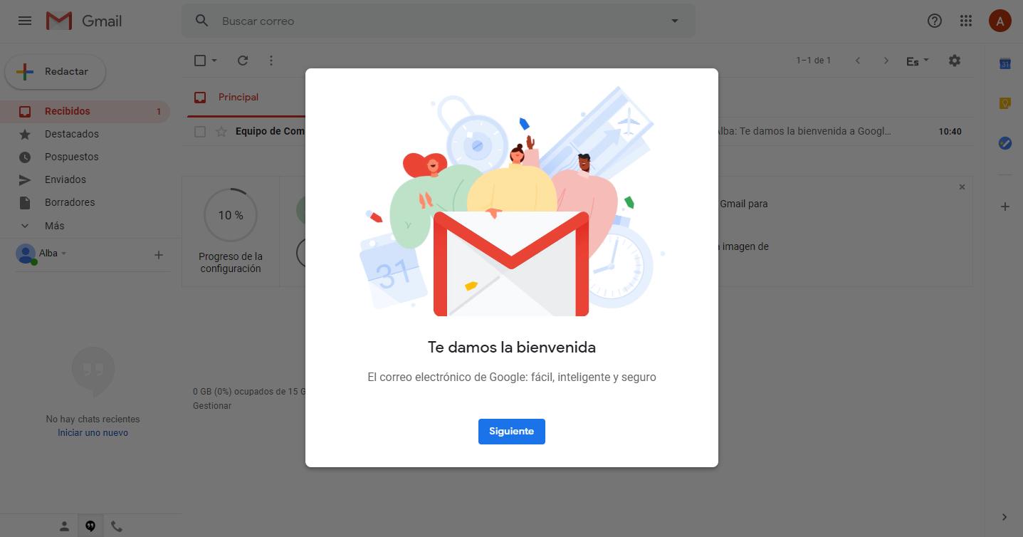 Te damos la bienvenida mensaje de gmail