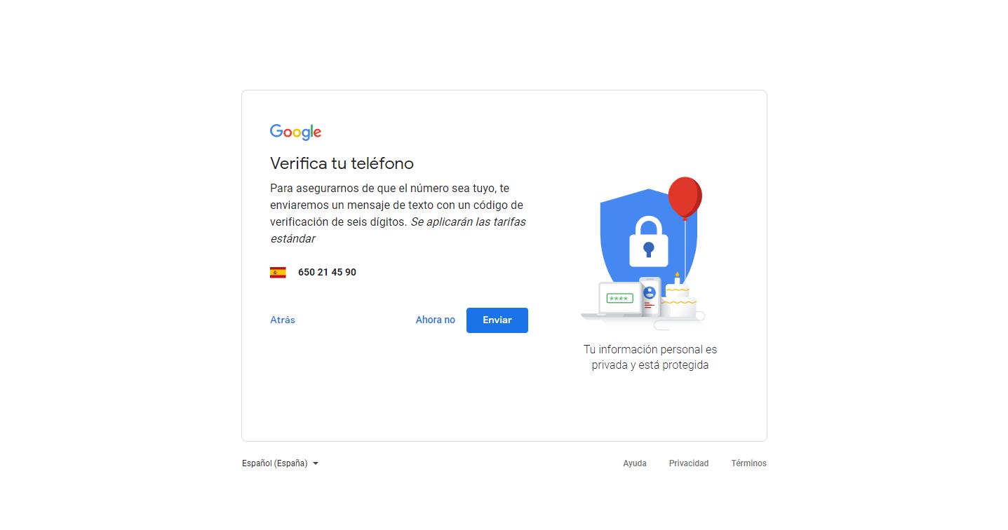 permiso para mandar mensaje móvil de verificación para crear cuenta gmail gratis