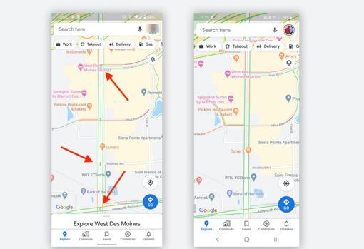 semaforos en rojo de google Maps
