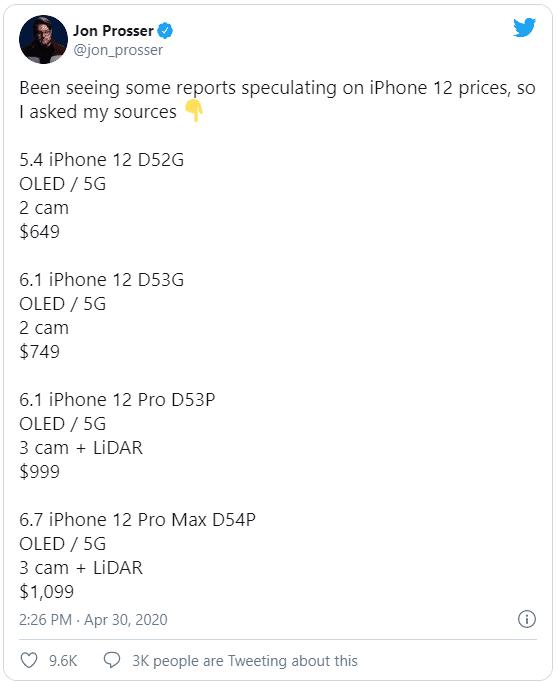 tweet precio del iphone 12