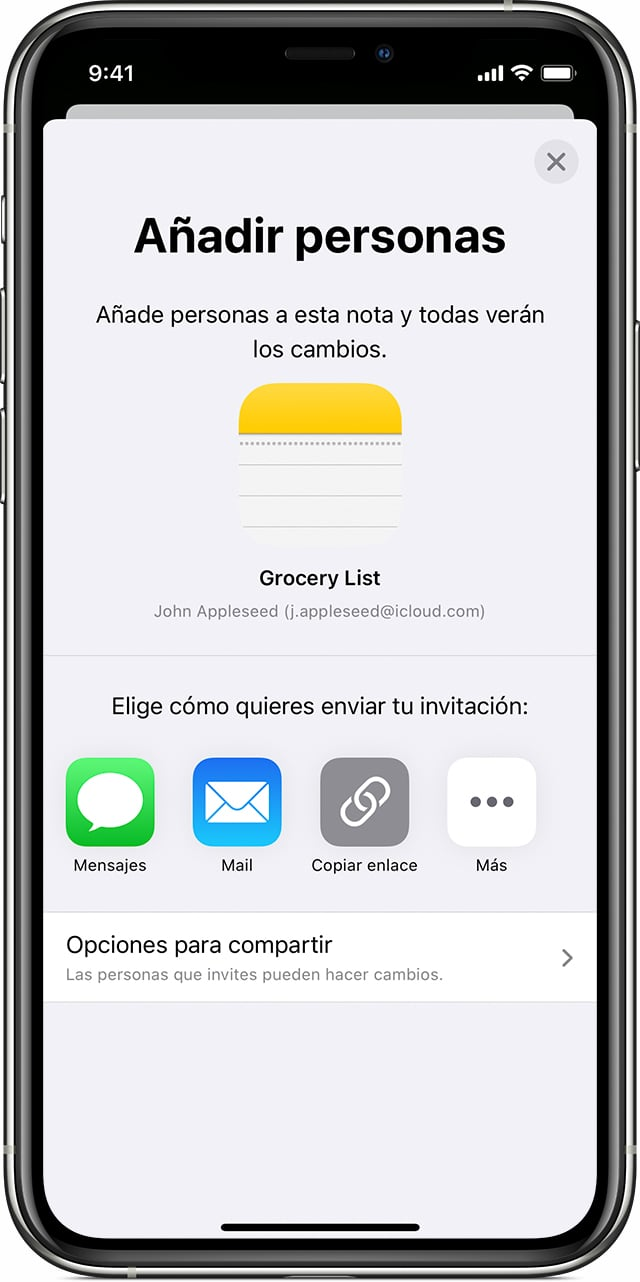notas compartidas apple